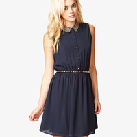 Studded Collar Chiffon Dress
