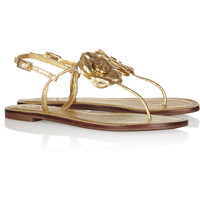 Tory Burch | Shelby embellished metallic textured-leather sandals | NET-A-PORTER.COM