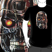 TERMINATOR robocop Steel Skull Face Art Painting T-Shirt man and woman by Pointsalestore .com