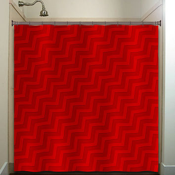 Diagonal Tones Red Chevron Shower Curtain From