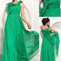 [123.75] In Stock Glamorous A-line Bateau Neckline Empire Waist Pleated Long Party Dress With Beadings and Handmade Flowers - Dressilyme.com