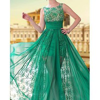 [195.19] In Stock Amazing A-line Bateua Neckline Sleeveless Full Length Beaded Formal Dresses - Dressilyme.com