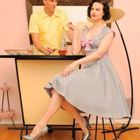 Pinup Couture Heidi Dress in Grey and Pink with Pink Bow | Pinup Girl Clothing