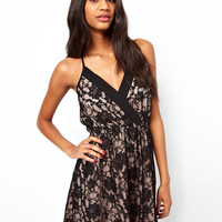ASOS | ASOS Lace Soft Wrap Skater Dress at ASOS