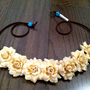 Cream Rose Flower Headband, Flower Crown, Flower Halo, Festival Wear, EDC, Coachella, Ezoo,Ultra Music Festival, Rave