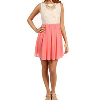 Pre-Order SandCoral Lace Colorblock Dress