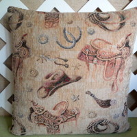 Western Pillow Cover Beige, Brown,Rust, Cowboy Hat, Saddle, Spurs,Rope