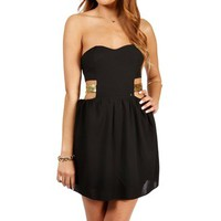 Black Strapless Sequin Bar Back Dress