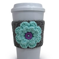 Crochet Flower Coffee Cup Cozy in Gray and Robin's Egg Blue