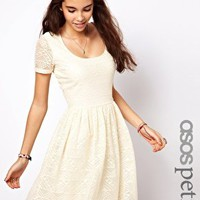 ASOS PETITE Skater Dress In Aztec Lace at asos.com
