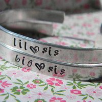 big and lil  sister two aluminum handstamped bracelets
