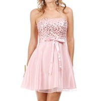 SALE-Pink Rose Sequin Homecoming Dress