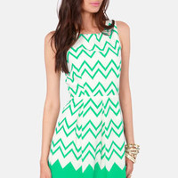 All-Star Lineup Sea Green Chevron Print Dress