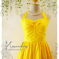 The Goddess Sunshine Yellow Dress Vintage Inspired Party Dress Tea Party Garden Dress Bridesmaid Wedding Bridal Dress -Size S-M-