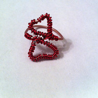 Cute pink double heart wire wrapped adjustable ring