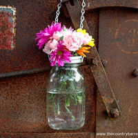 Hanging Mason Jar Flower Vase With Frog Lid by TheCountryBarrel