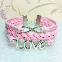 Infinity Bracelet-Hollow Love Symbol Bracelet.Light Pink Wax Cords and Pink Braid bracelet.