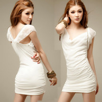 Women Chiffon Low Neck Backless Diamante Crystal Cocktail Party Mini Dress White
