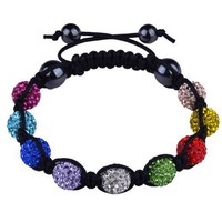 Multicolor Crystals Black Cord Onyx Macrame Beaded Shamballa Ball Bracelet