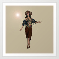 Autumn Girl Art Print by Design Windmill