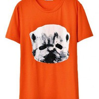 Longline T-shirt with Contrast Cat Print