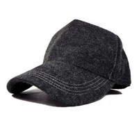 Grey Wool Blended Baseball Cap with Wide Arched Brim