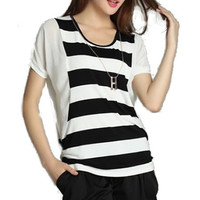 * Free Shipping * White Women Striped Bat Blouse H6453w