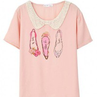 Shoes Print Chiffon T-shirt with Crochet Collar