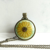 Sweet Sunflower Pendant Necklace, Vintage Style Jewelry, Charm, Small Flower Painting on Wood