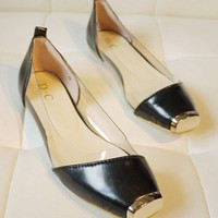 Black Transparent Flat Shoes with Square Metal Toes