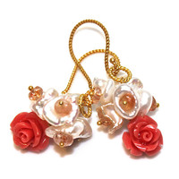 Carved Coral Earrings Keshi Pearl Cluster Oregon Sunstone Gold Dangle Earrings Gemstone Jewelry