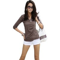 Amazon.com: HOT Khaki Korea Womens Slim Short Sleeve Casual Cotton Loose Tops T-Shirt Blouse: Clothing