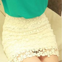 Retro Flower High Waisted Lace Skirt Short skirts