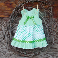 Baby Girl Dress, Green check and polka dot, ruffles. sizes 3 to 12 months, ribbon trim and bow