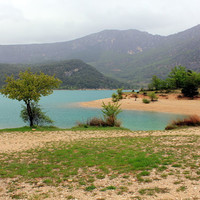 Landscape photography, travel photo, turquoise lake, spring summer in in south France, Europe,  5x7 (13x18) fine art photography