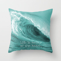 Better at the Beach Throw Pillow by Alice Gosling