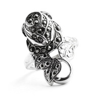 Vintage Silver Tone Marcasite Rose Ring - Size 6 Rhodium Plated Art Deco Style Flower Costume Jewelry / Floral Art Nouveau