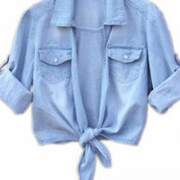 Sheer Tie Front Denim Shirt