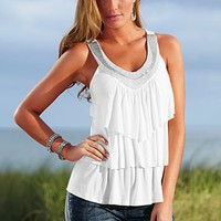 White Ruffle layered top from VENUS