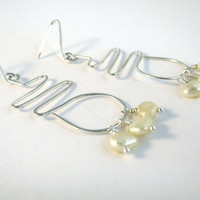 Creamy White and Sterling Silver Earrings, Freshwater Pearls, Modern, Geometric Wirework