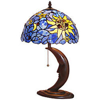 Tiffany-style Sun Design Bronze Table Lamp | Overstock.com