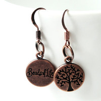 Copper Double- Sided Tree of Life Earrings Bead Of life Charm Dangles Earrings