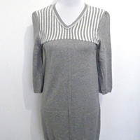 gray knit mini sheath dress