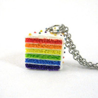 Rainbow Cake Necklace with Studded Rainbow Sprinkles - Whimsical & Unique Gift Ideas for the Coolest Gift Givers