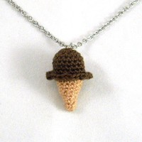 Chocolate Fudge Flavored Crochet Ice Cream Cone Necklace - Whimsical & Unique Gift Ideas for the Coolest Gift Givers