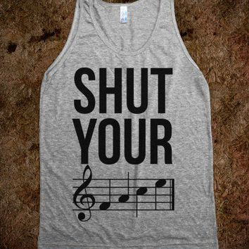Shut Your (FACE)-Unisex Athletic Grey Tank