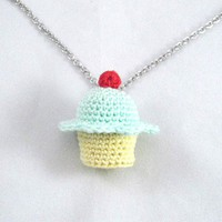 Mint Flavored Crochet Cupcake Necklace - Whimsical & Unique Gift Ideas for the Coolest Gift Givers
