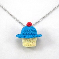 Peacock Blue Crochet Cupcake Necklace - Whimsical & Unique Gift Ideas for the Coolest Gift Givers