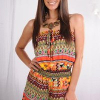 Orange Aztec Printed Romper