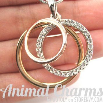 animalcharms | Three Connected Linked Hoop Necklace in Silver Gold and Copper |  Affordable Animal Charms and Necklaces